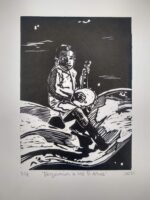 Benjamin At 5 Years Old (linoleum relief print on 200gsm Fabriano paper, edition of 7, 27.5 x 19.5 cm)