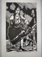 The Postcard, Never Sent (linoleum relief print on 200gsm Fabriano paper, edition of 7, 47 x 28 cm)