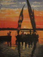 River Nile scene in acrylics