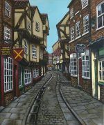 'The Shambles' York, acrylics on canvas.