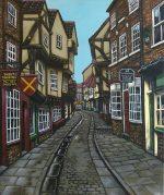 'The Shambles' York, acrylics on canvas.